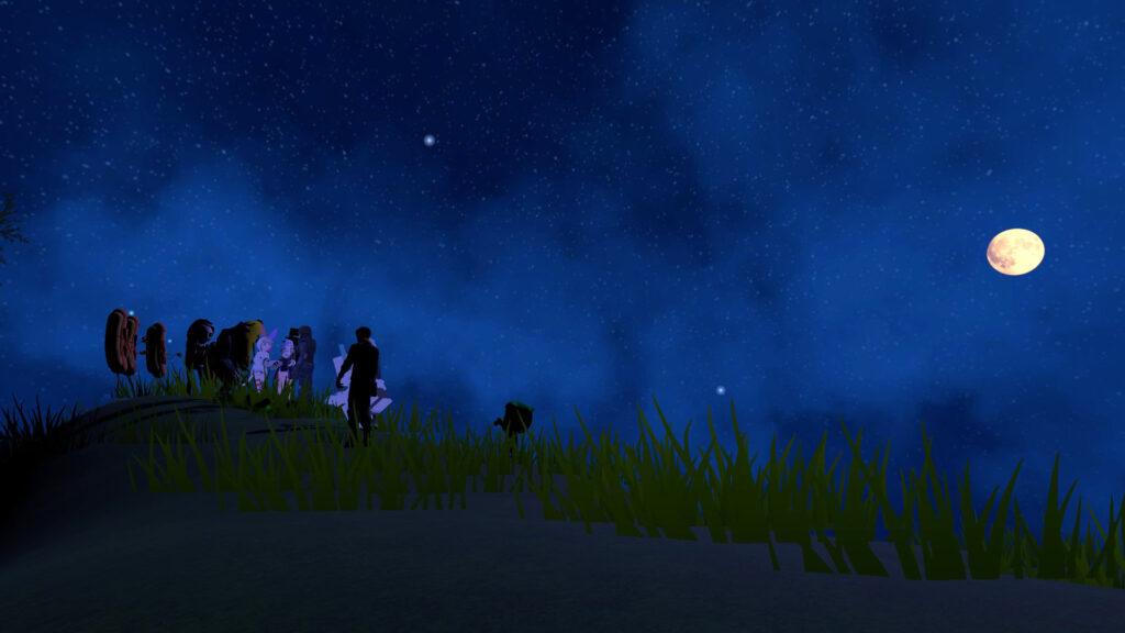 静寂の丘で月にまつわる講義を聴く